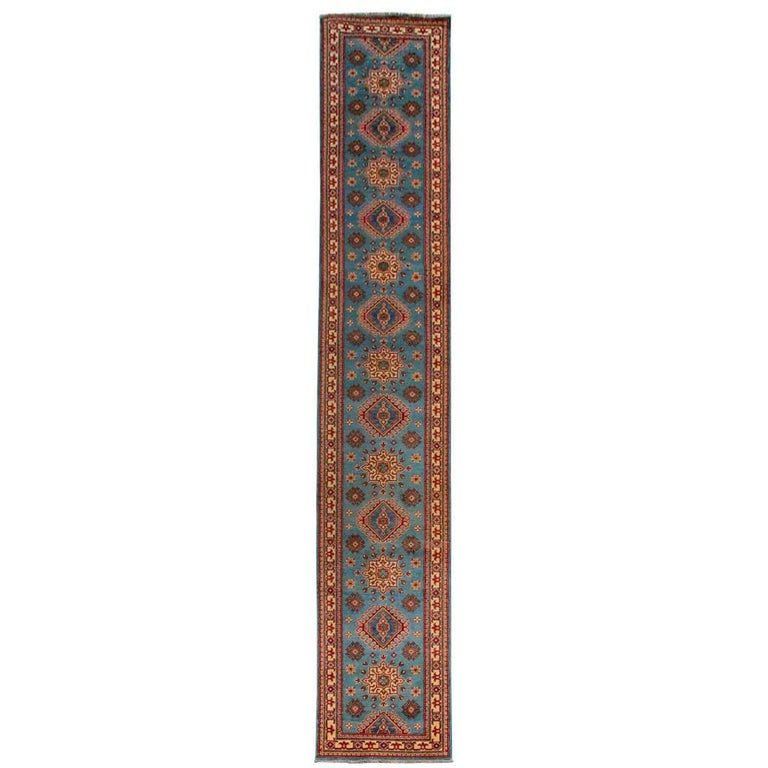Contemporary Pakistani Kazak Style Runner Rug For Sale