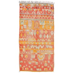 Tribal Design Vintage Moroccan Rug in  Orange,  Red, Mint Green and Ivory
