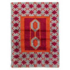 Tribal Field Design Vintage Rust Swedish Rya Wool Rug, 1950-1970