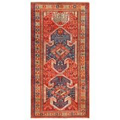 Tribal Gallery Size Runner Antique Caucasian Kazak Rug. Size: 5 ft 6 in x 11 ft