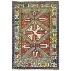 Tribal Geometric Antique Caucasian Shirvan Rug
