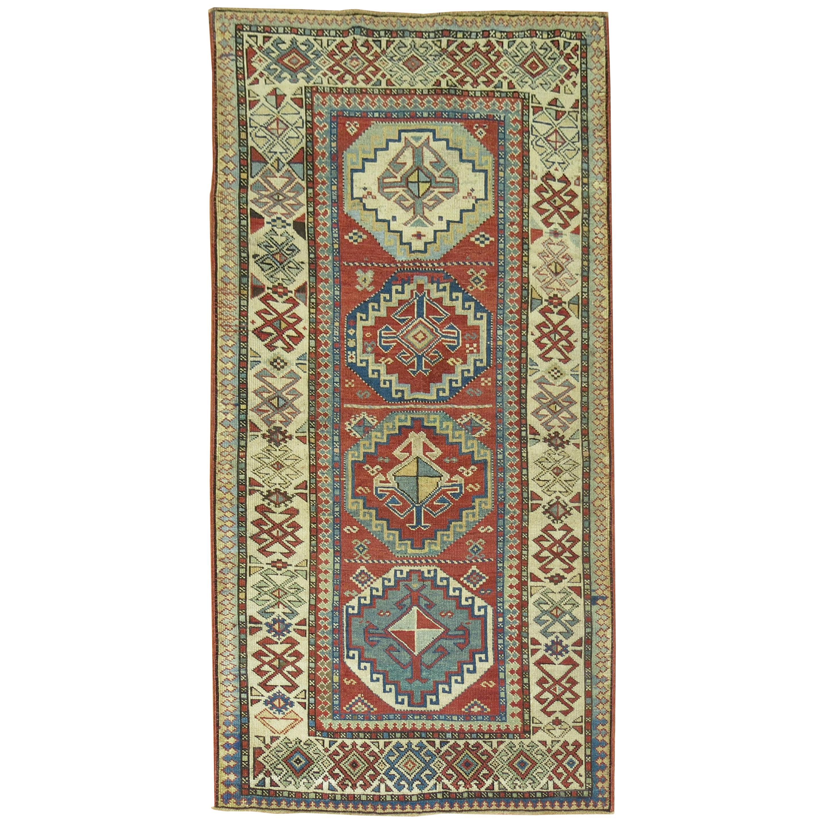Tribal Geometric Antique Caucasian Shirvan Rug