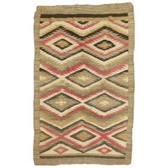 Tribal Geometric Primitive Camel Field Antique American Navajo Rug