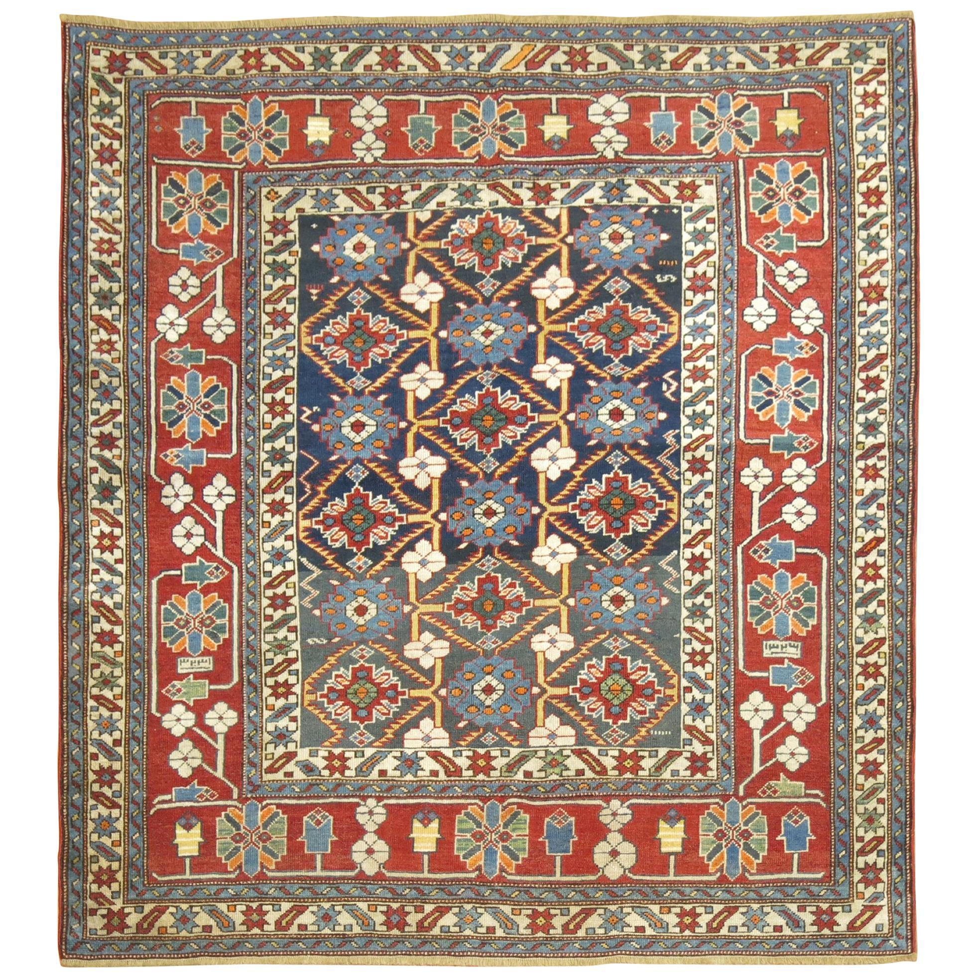 Tribal Geometric Square Antique Caucasian Shirvan Rug