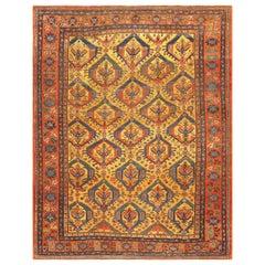 Tribal Gold Background Antique Persian Bakshaish Rug