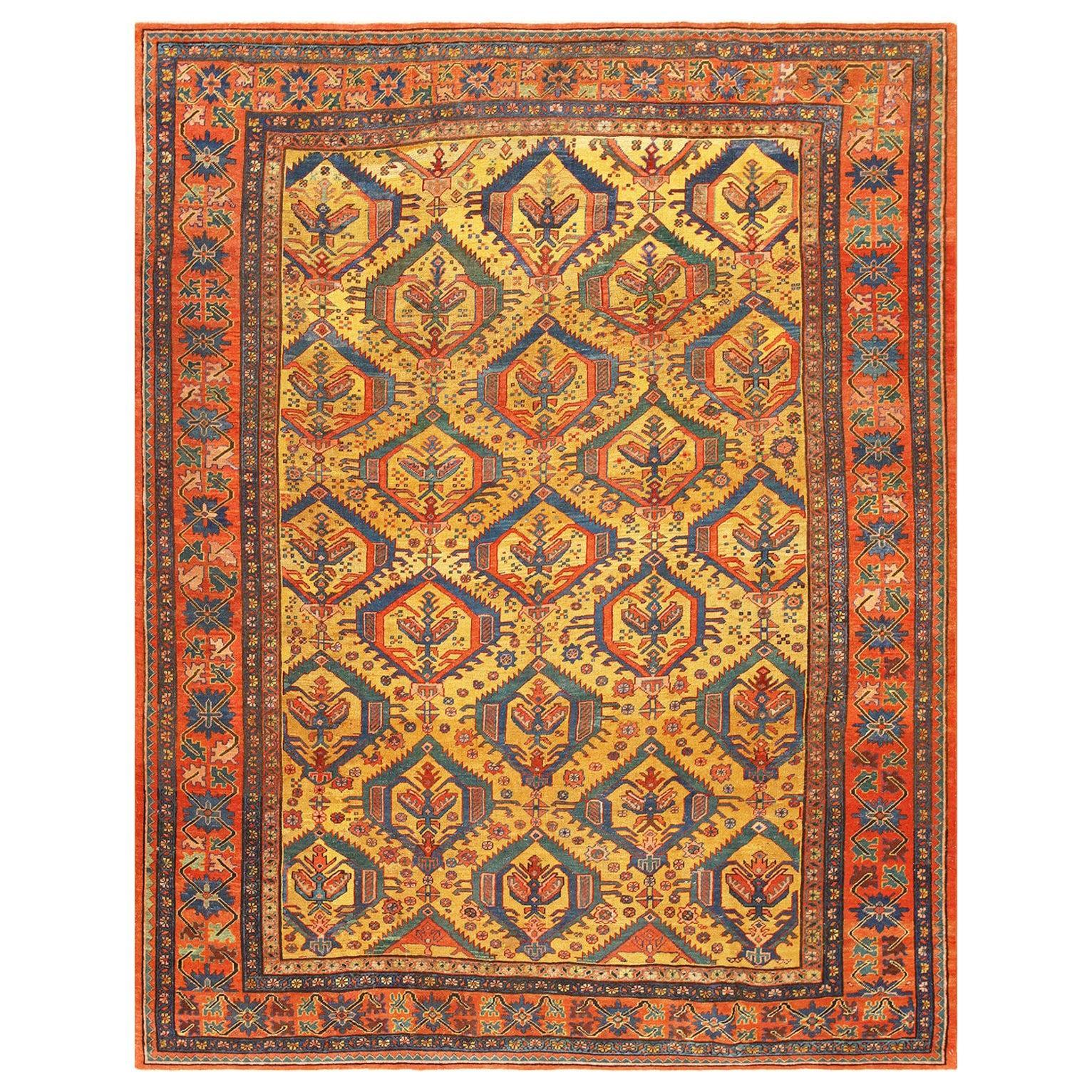 "Tribal Gold Background Antique Persian Bakshaish Rug. Size: 8' 6"" x 10' 8"""