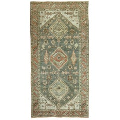 Tribal Green Terracotta Heriz Scatter Size Rug, 20th Century