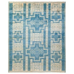 Tribal Hand Knotted Area Rug in Blue New Zealand Wool