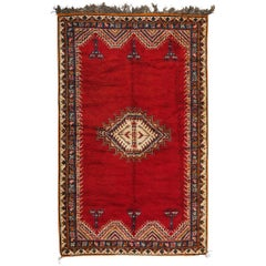 Tribal Handwoven Moroccan Red Organic Rug Carpet with Berber Symbols
