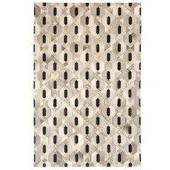 Tribal Inspired Customizable Linaje Gray, Black and Gold Cowhide Rug Large