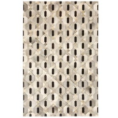Tribal Inspired Customizable Linaje Gray, Black and Gold Cowhide Rug X-Large