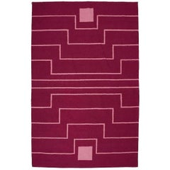 Tribal Inspired Flat-Woven Dhurrie Red Maroon Pink Graphic Rug 5'x8'