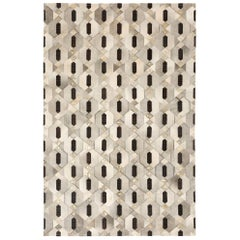 Tribal Inspired Linaje Gray, Black and Gold Cowhide Rug