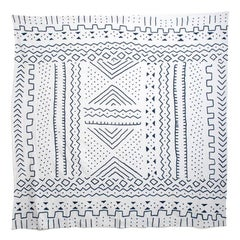 Tribal Inspired White and Navy Embroidered Coverlet Bedspread or Wall Hanging