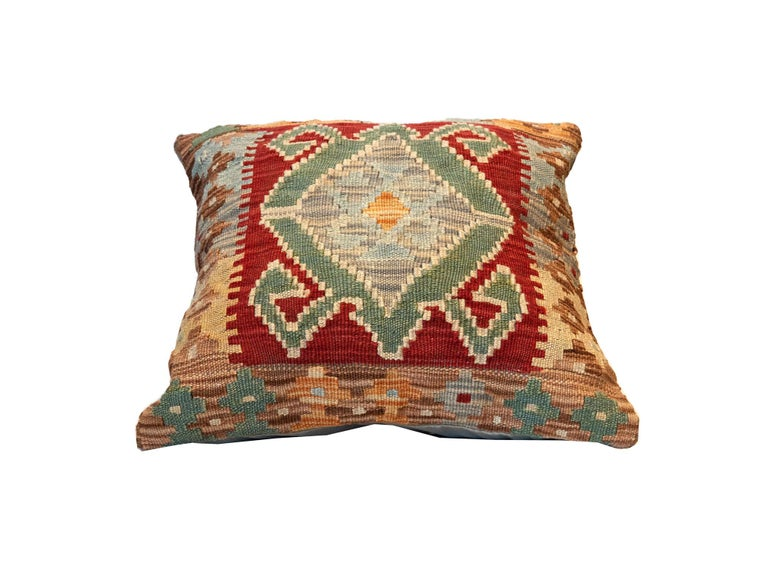 Afghan Tribal Kilim Cushion Cover, Handwoven Pillow Cover Geometric Wool For Sale