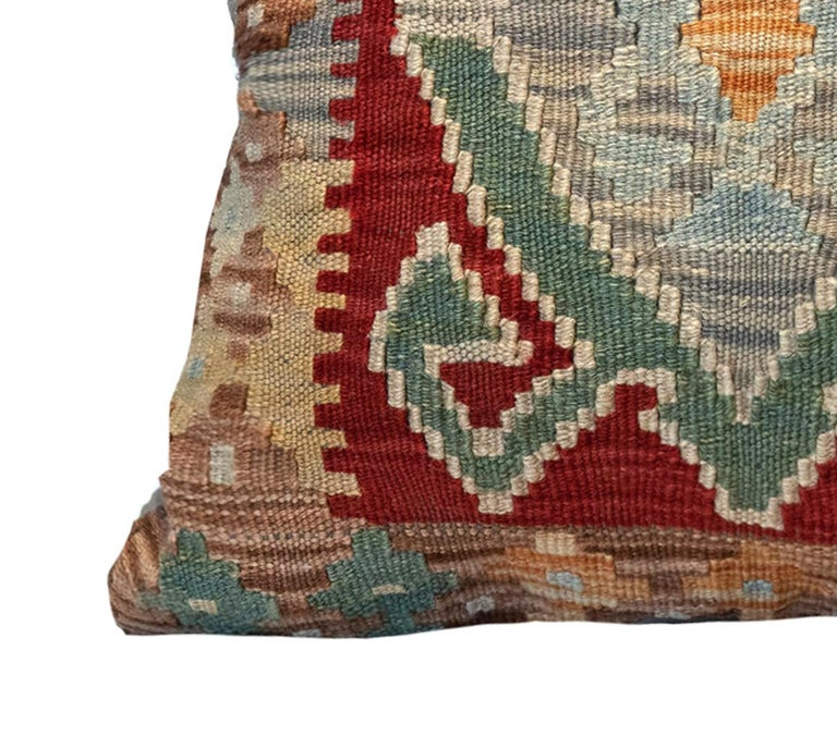 Vegetable Dyed Tribal Kilim Cushion Cover, Handwoven Pillow Cover Geometric Wool For Sale
