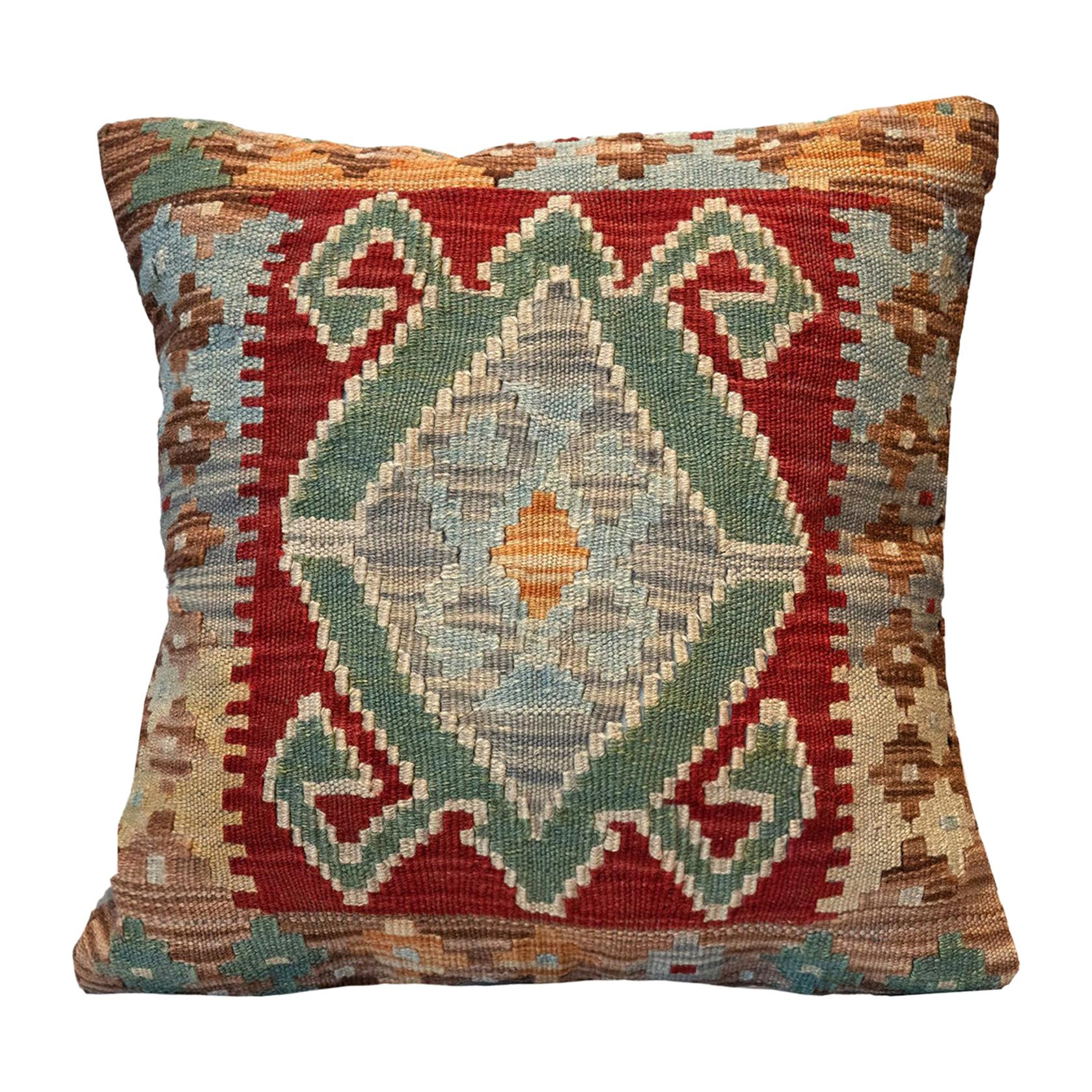 Tribal Kilim Cushion Cover, Handwoven Pillow Cover Geometric Wool