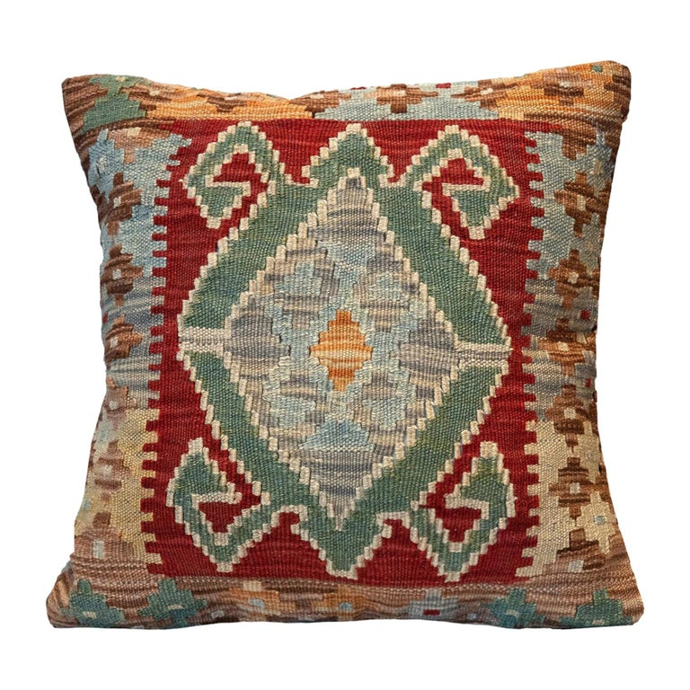 Tribal Kilim Cushion Cover, Handwoven Pillow Cover Geometric Wool For Sale