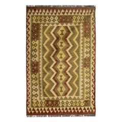 Tribal Kilim Rug, Vintage Carpet Cream Brown Flatweave Rug