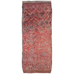 Tribal Late 20th Century Handmade Moroccan Gallery Rug in Deep Red