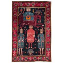 Tribal Late 20th Century Handmade Persian Pictorial Bakhtiari Accent Rug