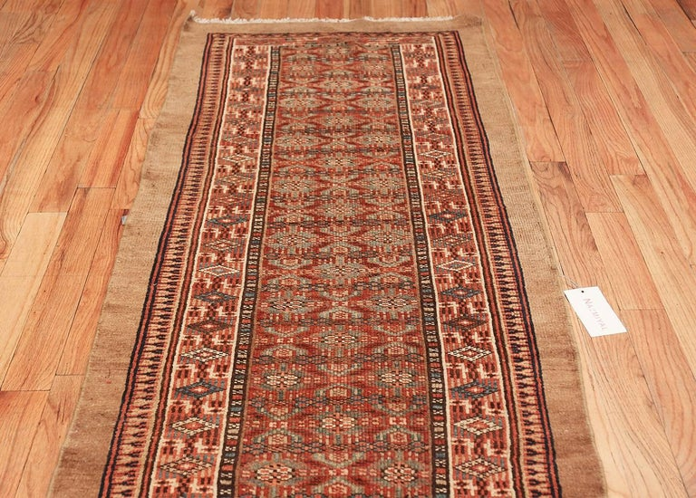 Wool Tribal Long and Narrow Antique Persian Serab Runner Rug. Size: 2' 8