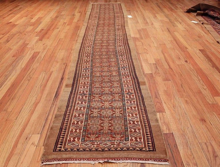 Tribal Long and Narrow Antique Persian Serab Runner Rug. Size: 2' 8