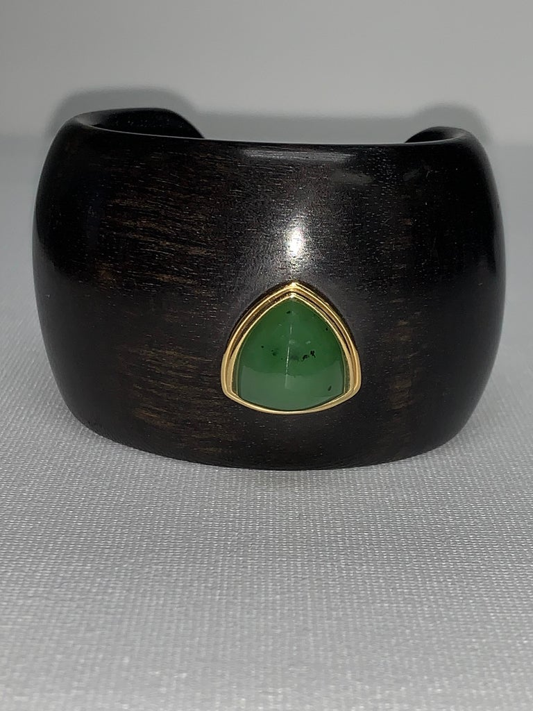 Carved Ebony Wood Italy Green Aventurine Bracelet For Sale 8