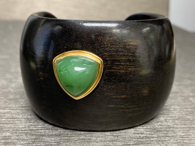 Artisan  Carved Ebony Wood Italy Green Aventurine Bracelet For Sale