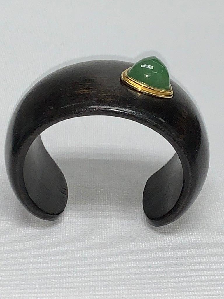 Carved Ebony Wood Italy Green Aventurine Bracelet For Sale 2
