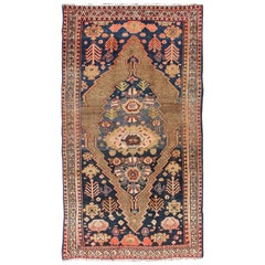 Tribal Medallion Design Antique Persian Serab Rug in Camel and Shades of Blue