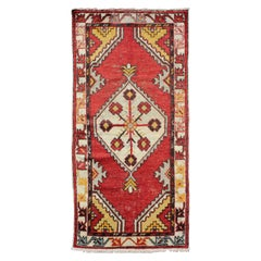 Tribal Medallion Vintage Turkish Oushak Rug in Red, Brown, Gray, Yellow