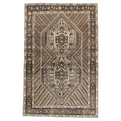 Tribal Mid-20th Century Handmade Persian Afshar Throw Rug in Brown and Cream