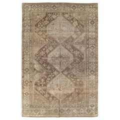 Tribal Mid-20th Century Handmade Persian Shiraz Accent Rug in Cream and Brown