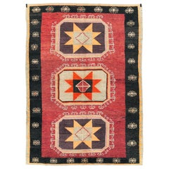 Tribal Mid-20th Century Handmade Turkish Anatolian Accent Carpet in Red & Black