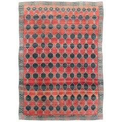 Tribal Mid-20th Century Handmade Turkish Anatolian Room Size Carpet in Red
