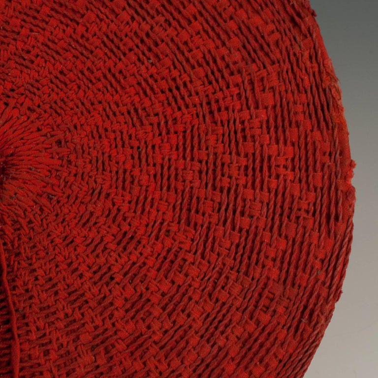 South African Tribal Mid-20th Century Zulu Women's Red Cotton Hat, Isicholo, South Africa For Sale