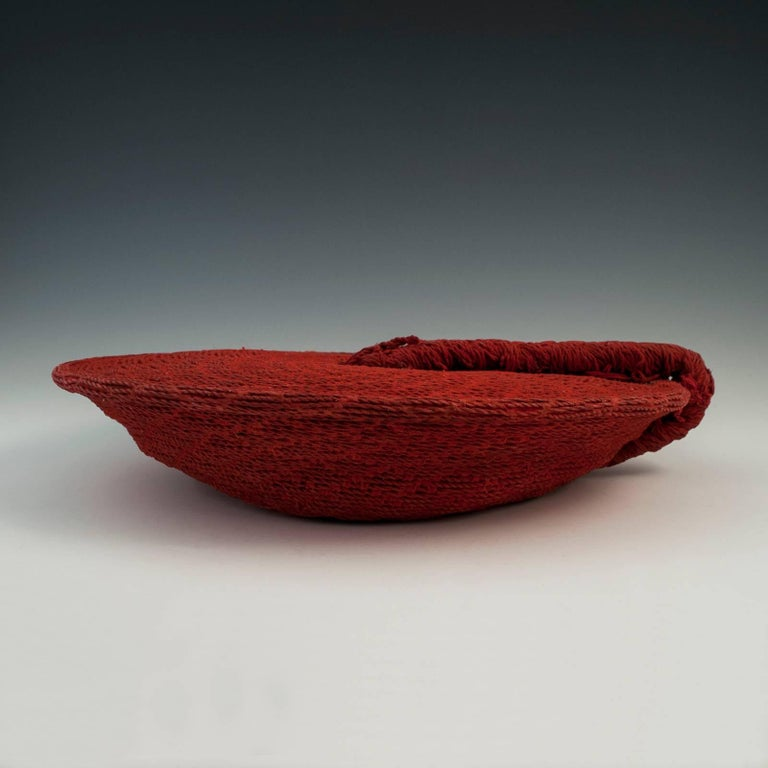Hand-Crafted Tribal Mid-20th Century Zulu Women's Red Cotton Hat, Isicholo, South Africa For Sale