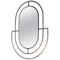 Tribal Mirror 2.0, in Black Steel and Clear Mirror, Made in Canada by Mtharu