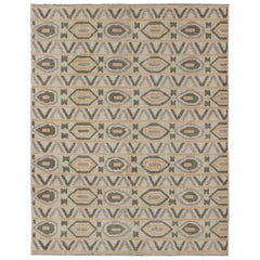Tribal Modern Afghan Rug with All-Over Pattern in Dark Green and light Orange