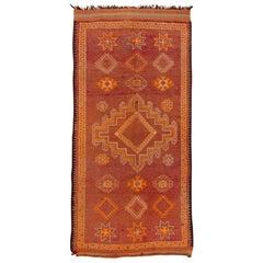 Tribal Moroccan Berber Gallery Rug, Orange Field
