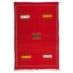 Tribal Moroccan Red Wool Rug