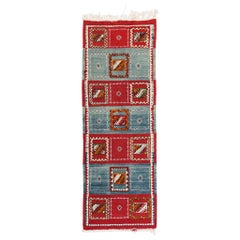 Tribal Moroccan Runner-Blue, Red Geometric Patterns Handwoven Organic Rug