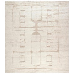 Tribal Moroccan Style Shaggy Wool Rug with High-Low Design