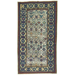 Tribal Navy Dark Green Caucasian Kuba Rug