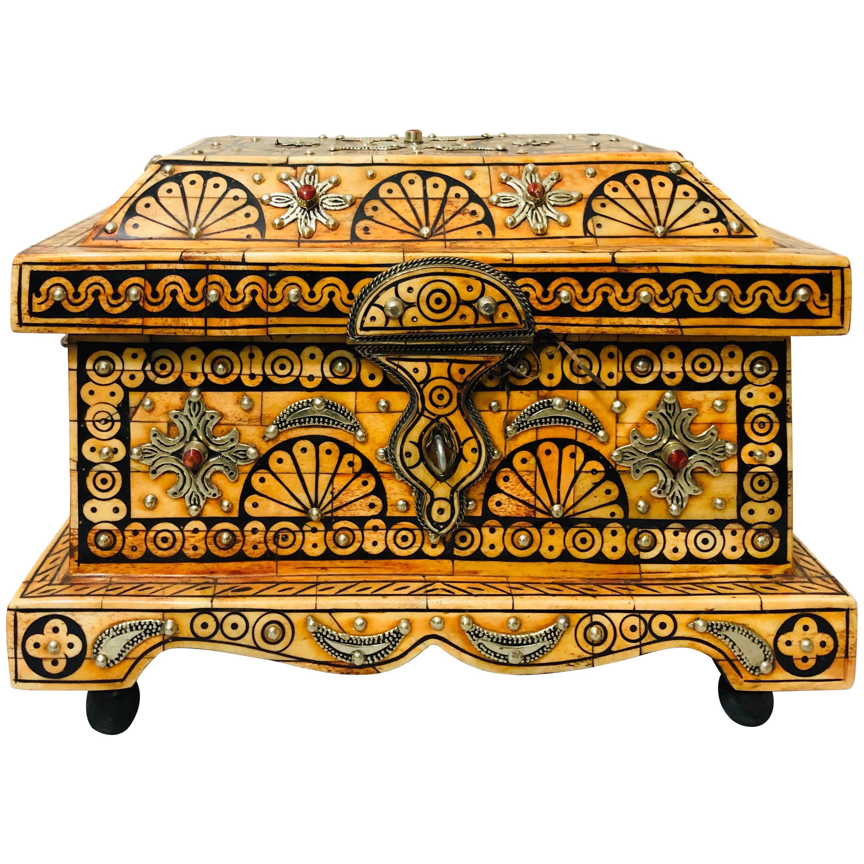 Tribal Orange Bone Jewelry Chest or Box with Brass Inlay