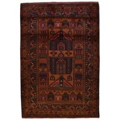 Tribal Persian Balouchi Carpet in Gold, Red, Green, Black, and Cream Wool