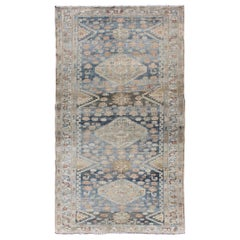 Tribal Persian Malayer Rug with Geometric Design in Steel Blue and Tan Tones