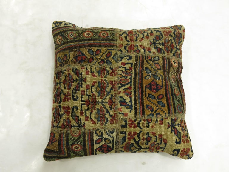 Futurist Tribal Persian Patchwork Rug Pillow For Sale