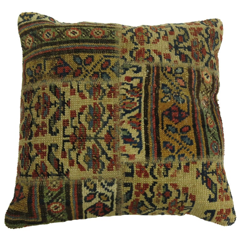 Tribal Persian Patchwork Rug Pillow For Sale